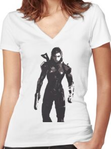 Minimalist Female Shepard from Mass Effect Women's Fitted V-Neck T-Shirt
