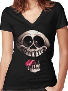 Crazy Skull Women's Fitted V-Neck T-Shirt