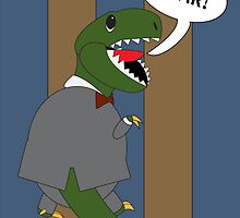 Male T-Rex Dinosaur in Suit by ValeriesGallery