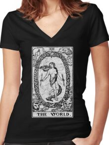 The World Tarot Card - Major Arcana - fortune telling - occult Women's Fitted V-Neck T-Shirt