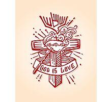 Religious Cross illustration God is Love Photographic Print