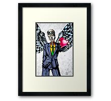 Suit wearing, winged, skeleton holding his heart.... Framed Print