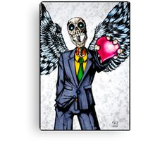 Suit wearing, winged, skeleton holding his heart.... Canvas Print