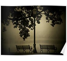 Park Benches in Fog  Poster