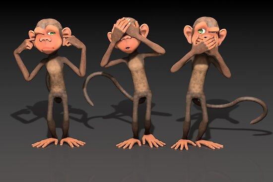 Hear No Evil, See No Evil, Speak No Evil - Three Wise Monkeys by Liam Liberty