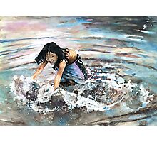 Polynesian Child playing In Water Photographic Print
