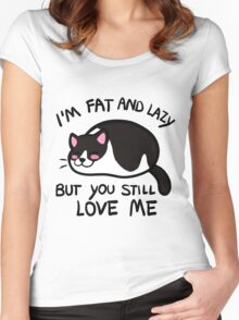 Lazy Cat, Piebald Black Women's Fitted Scoop T-Shirt
