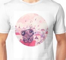 Music Lover - Rondy the Elephant listening to music on the roof Unisex T-Shirt