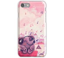 Music Lover - Rondy the Elephant listening to music on the roof iPhone Case/Skin