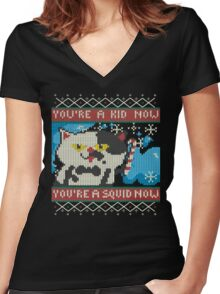 Knitted Ugly Sweater Splatoon Judd the Cat from Nintendo Women's Fitted V-Neck T-Shirt