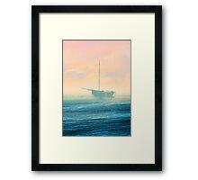 Boat in mist Framed Print