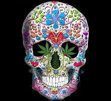 Decorated Skull with Pot Leaves by TinaGraphics