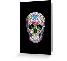 Decorated Skull with Pot Leaves Greeting Card