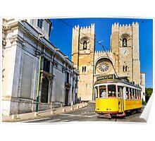Historic yellow tram of Lisbon, Portugal Poster