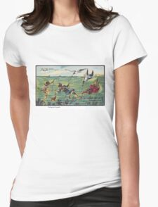 Early 20th Century images of France in 2000 - Seagull Fishing Womens Fitted T-Shirt