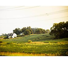 OLD WHITE BARN AT SUNSET Photographic Print