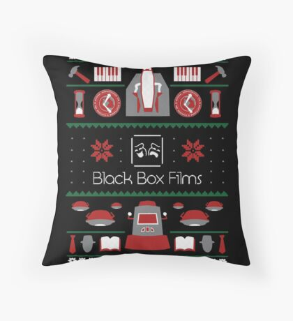 Black Box Films Christmas Sweater (Red & Green) Throw Pillow