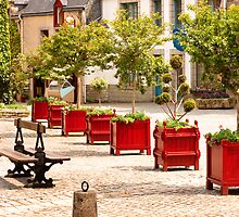 Little Red Planters All in a Row  - Rochefort en Terre, Brittany, France by Buckwhite