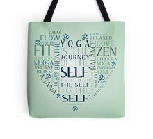 Yoga Heart Word Cloud Tote Bag
