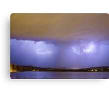 Lightning And Rain Over Rocky Mountain Foothills Canvas Print