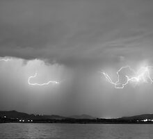 Lightning and Rain Over Rocky Mountain Foothills BW by Bo Insogna
