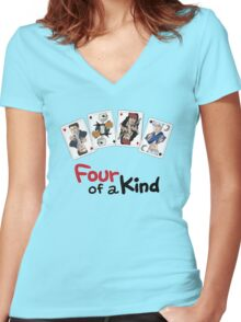 Four of a Kind Women's Fitted V-Neck T-Shirt