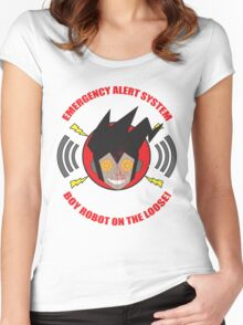 Emergency alert system- Boy robot on the loose! Women's Fitted Scoop T-Shirt