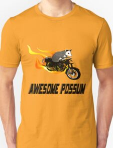 Possum Opossum riding Flaming Motorcycle Unisex T-Shirt
