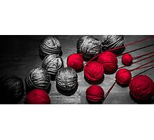 Red balls of thread Photographic Print