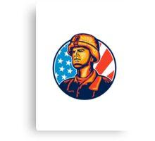 American Serviceman Soldier Flag Retro Canvas Print
