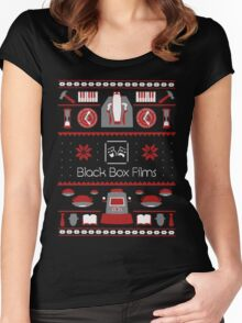 Black Box Films Christmas Sweater (Red) Women's Fitted Scoop T-Shirt