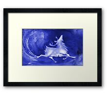 Christmas background with runing reindeer Framed Print