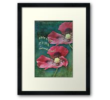 Poppies on a Grunge Retro background with Text Framed Print