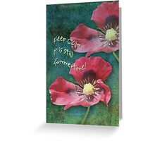 Poppies on a Grunge Retro background with Text Greeting Card