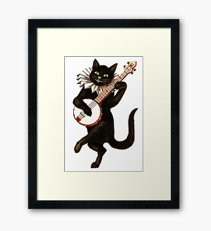 Funny Vintage Cat Dancing and Playing Banjo Framed Print