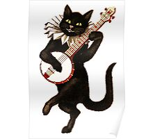 Funny Vintage Cat Dancing and Playing Banjo Poster