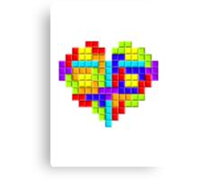 Tetris Block Heart Canvas Print