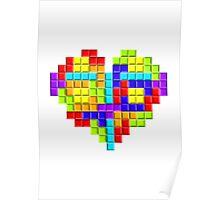 Tetris Block Heart Poster