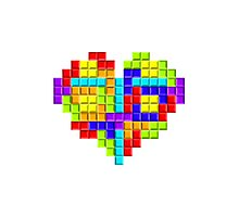 Tetris Block Heart Photographic Print