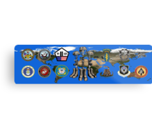 Fallen Soldier Battle Cross Veteran and 9/11 Memorial Wall Painting Metal Print