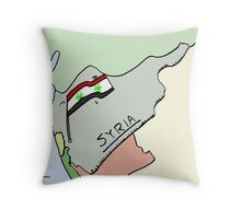 Biohazard Syrian flag caricature Throw Pillow