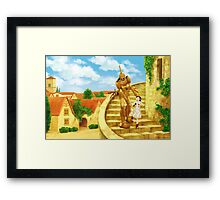 The Girl and the Robot - Friends in the Castle Town Framed Print