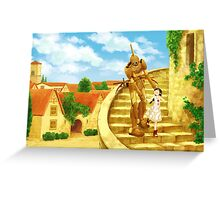 The Girl and the Robot - Friends in the Castle Town Greeting Card