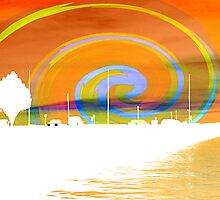 Jackson Street Pier - Orange Swirl by SRowe Art