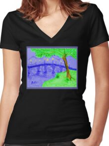 Bridge At Twilight 2 Women's Fitted V-Neck T-Shirt
