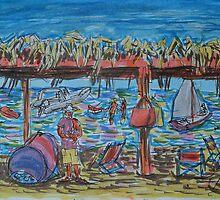 Watercolor Sketch - Beach Gazebo. Sicily, 2013 by Igor Pozdnyakov