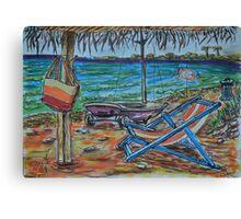 Watercolor Sketch - Summer, Beach, Gazebo, Sailboat.. 2013 Canvas Print