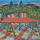 Watercolor Sketch - A Farm Terrace in Summer. Sicily, 2013 by Igor Pozdnyakov