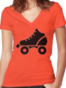 roller-skate Women's Fitted V-Neck T-Shirt