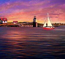 Sailing at Booth Bay Harbor by Richard Gaffney